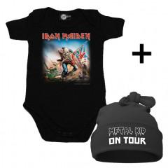 Juego de regalo con body de Iron Maiden y Metal Kid on Tour Gorrita