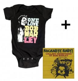 Juego de regalo con body de Bob Marley Smile y CD Rock Baby Lullaby de Bob Marley