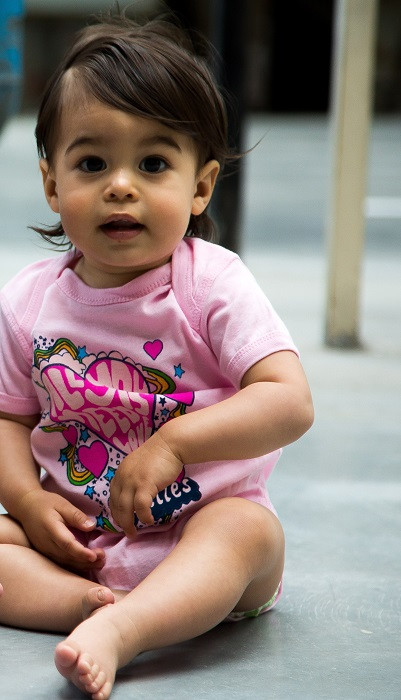 Beatles Baby Romper All You Need Is Love Pink photoshoot