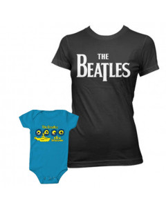 Duo Rockset con camiseta para mamá de Beatles y body para bebé de Beatles Portholes